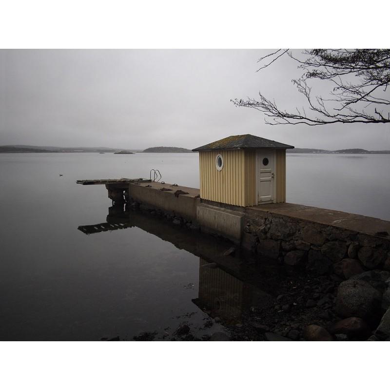 Sweden, Särö, 2018, fisherman's hut in front of the sea