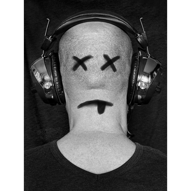 France, Paris, 2019, self-portrait of back with earphones