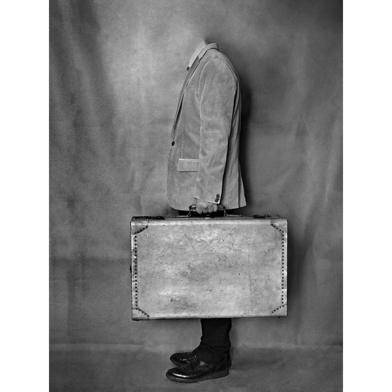 France, Paris, 2019, decapitated man with suitcase